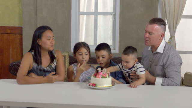 Family Eat Birthday Cake video