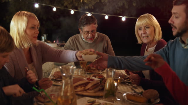 DS Family eating at picnic table in the evening video