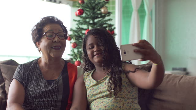 family enjoying christmas at home - video call with family video stock e b–roll