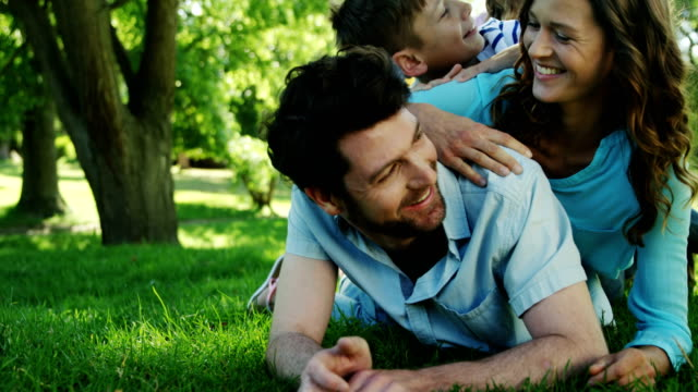 Family enjoying time together in the park video