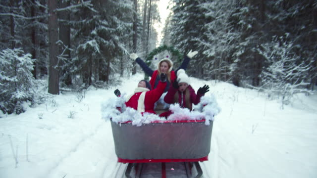Family happily waving while riding a sleigh
