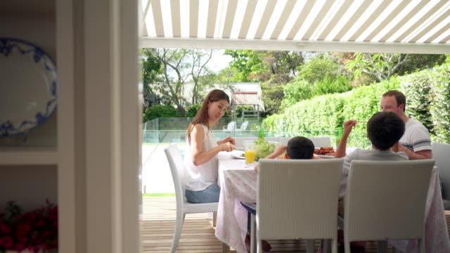 Familie met een barbecue buitenshuis video