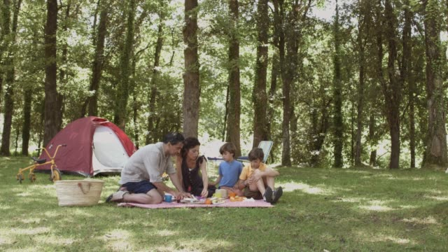 family having breakfast near tent in forest - picnic video stock e b–roll