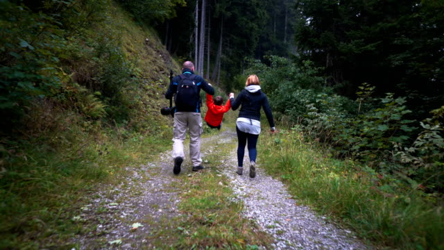 Family having fun hiking Family having fun hiking hiking stock videos & royalty-free footage