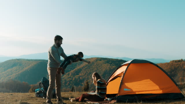 Family having fun on camping trip