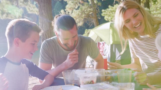 family having picnic as they camp by lake on adventure in forest - ręczna kamera filmów i materiałów b-roll