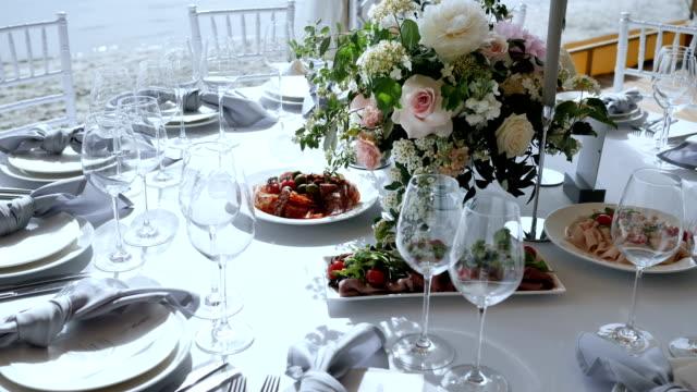 family holiday feast - pranzo di natale video stock e b–roll