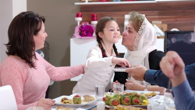 Family iftar meal in Ramadan video