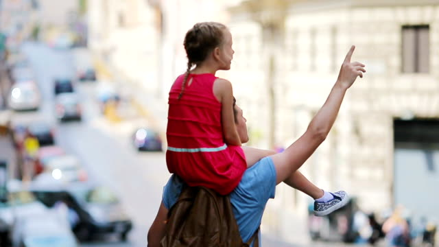 Family in Europe. Happy father and little adorable girl in Rome during summer italian vacation video