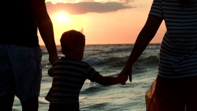 ご家族の夕日を見ながら手 - 息子点の映像素材/bロール