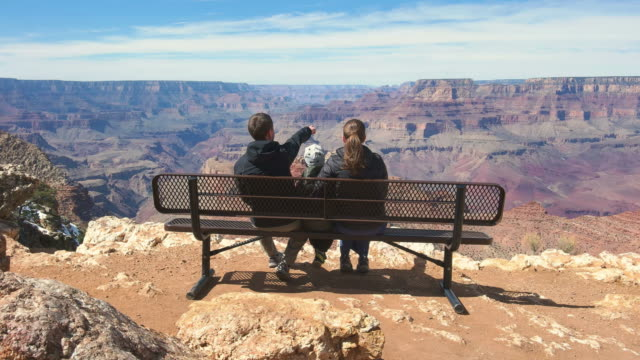 family looking at view in grand canyon national park usa - parco nazionale video stock e b–roll