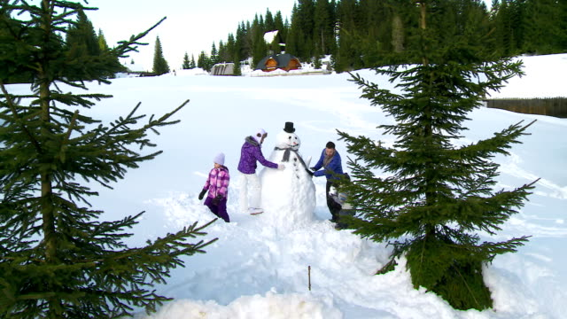 HD CRANE: Family Making A Snowman HD1080p: CRANE shot of a young family building a snowman in the snow covered countryside. snowman stock videos & royalty-free footage