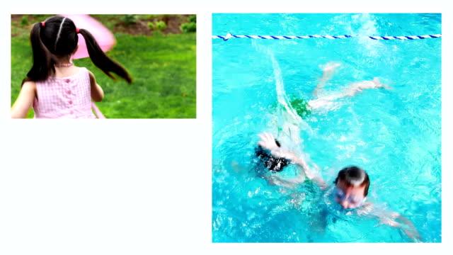 vídeos de stock e filmes b-roll de montagem de família - mulher natureza flores e piscina