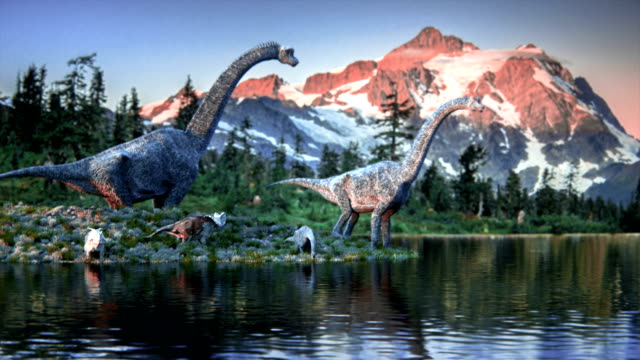 A family of dinosaurs drinking water from a pond
