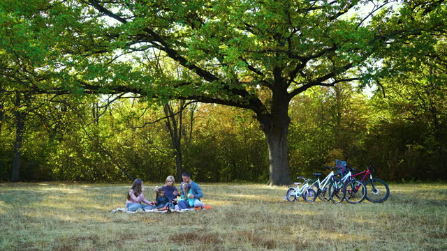 Family of five having picnic after bike ride in nature
