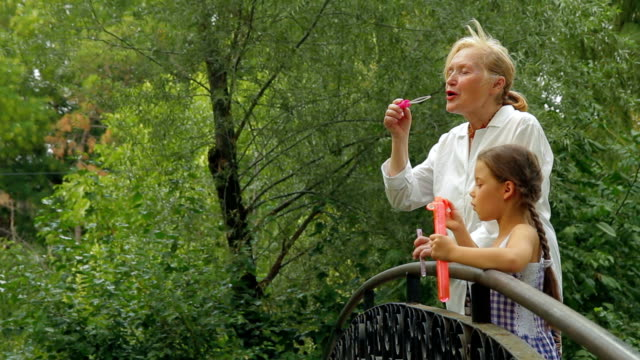 Family on a bridge in park video