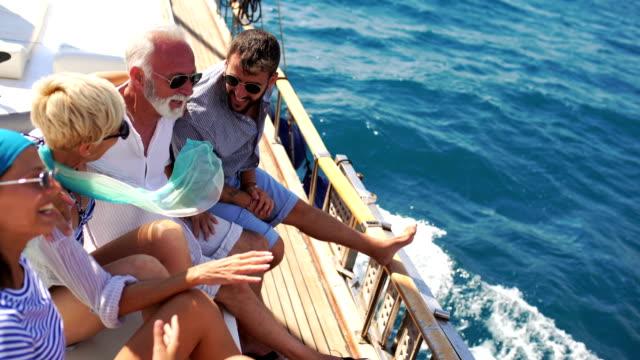 vídeos de stock e filmes b-roll de family on a sailing cruise. - enjoying wealthy life