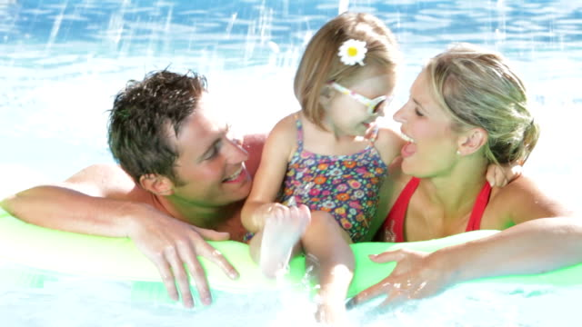 Family On Holiday In Swimming Pool video