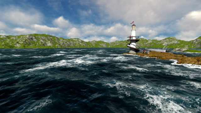 Family On Holiday With Boat At Lighthouse Beautiful Day 3 D People - vídeo
