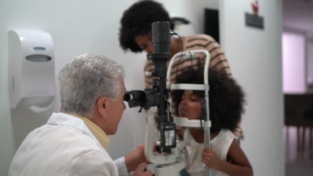 vidéos et rushes de famille (mère et fille) sur rendez-vous d'ophtalmologiste - examen ophtalmologique