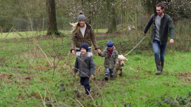 familj på vintern promenad i naturen med hund skjuten på r3d - gå tillsammans bildbanksvideor och videomaterial från bakom kulisserna