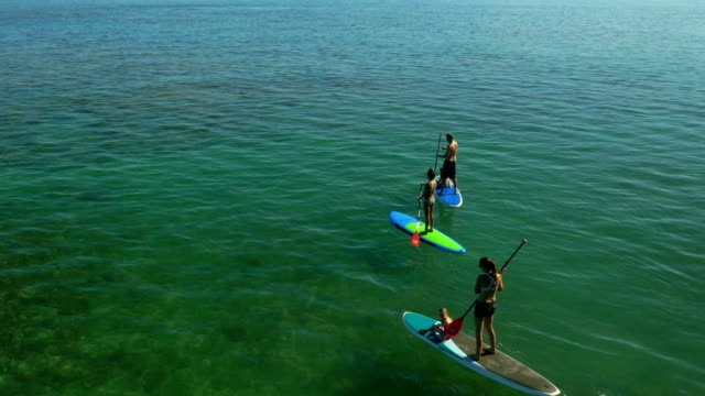 Family paddle boarding on a tropical beach vacation to Hawaii video
