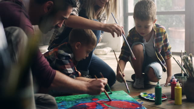 Family painting video