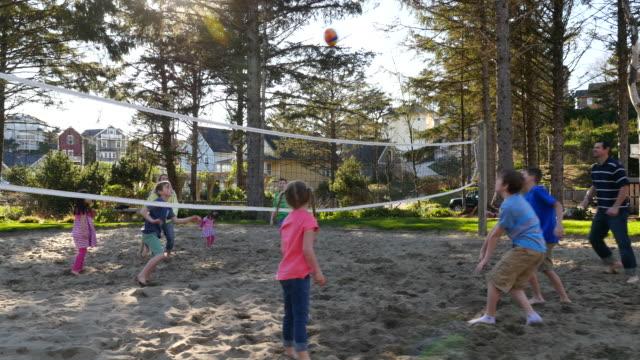 Familia jugando en la cancha de voleibol arena - vídeo