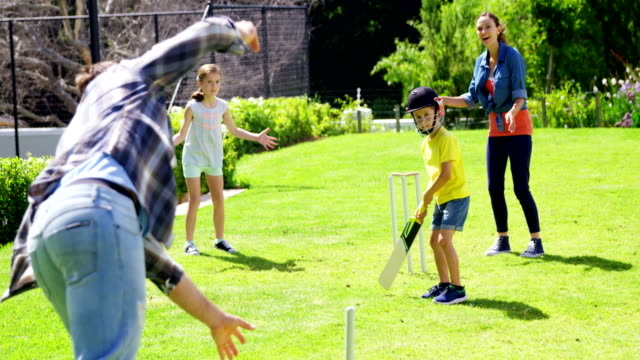 Family playing cricket in park video