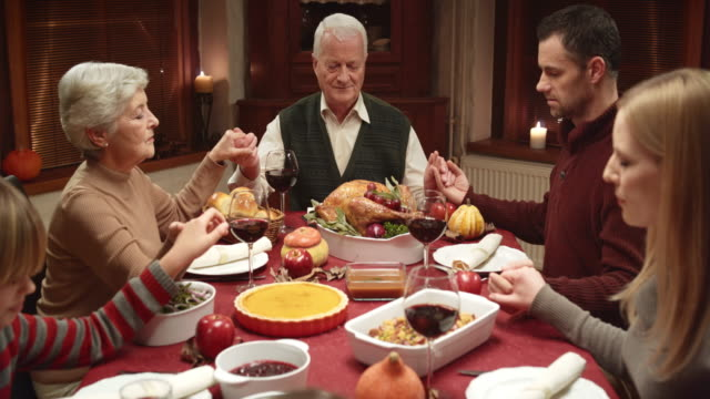 Family prayer at the Thanksgiving table video