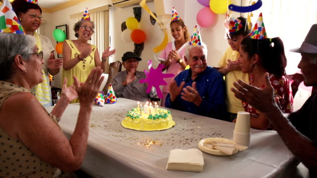 Family Reunion For Birthday Party Celebration In Retirement Home video