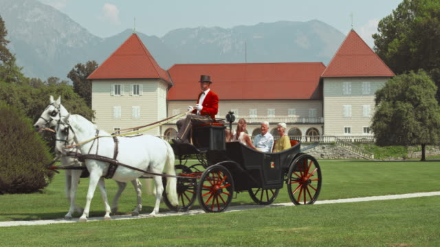 Family riding in a horse carriage around the castle park
