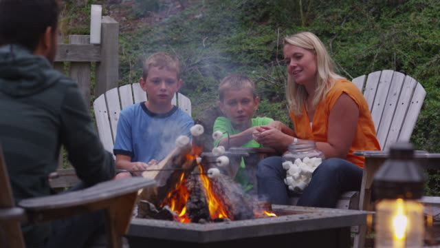 Family roasting marshmallows by outdoor fire. video