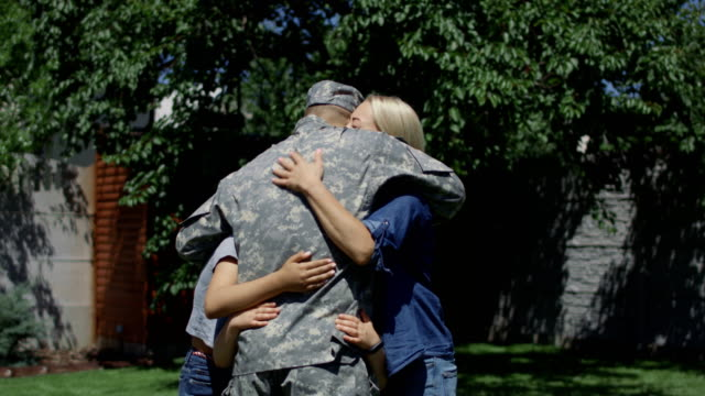 family sending soldier off to army - military lifestyle stock videos & royalty-free footage