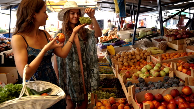 Family shopping on the market place-sisters buying organic vegetables and fruits for vegetarian meal video