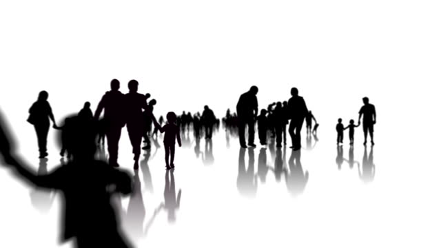 Family silhouettes animation video