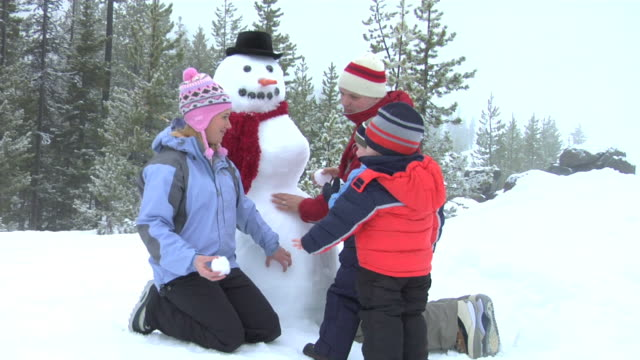 Family sitting by snowman Family of four with snowman throwing snowballs snowman stock videos & royalty-free footage