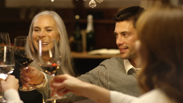 Family sitting on christmas table clinking glasses video