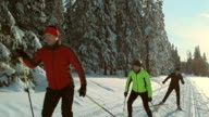 istock TS SLO MO family skating on cross country skiing track 482838552