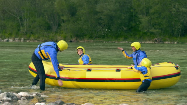 HD: Family Splashing Each Other Before Rafting video
