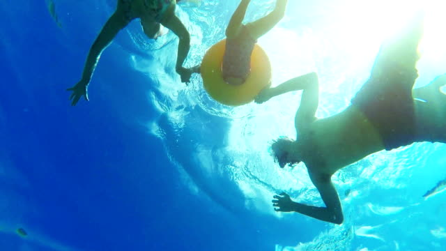 Family swimming and holding hands together with underwater view video