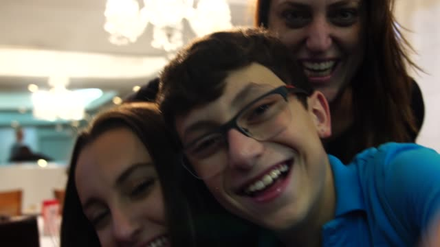 Family Taking a Selfie at Home video