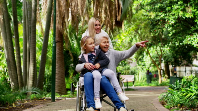 Family visits don't have to happen at home 4k video footage of a senior woman in a wheelchair spending time with her family in the park pushing wheelchair stock videos & royalty-free footage