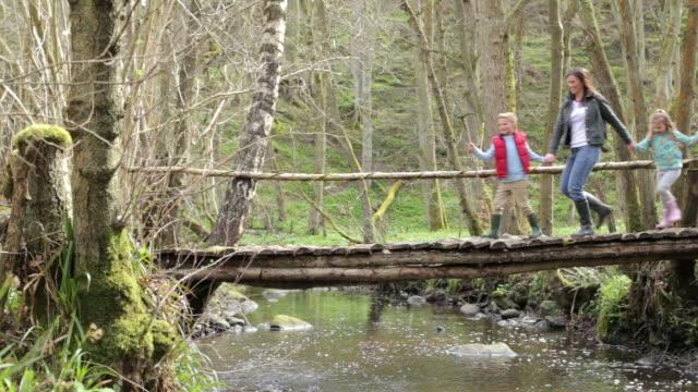 Family Walking Across Wooden Bridge Over Stream In Forest video