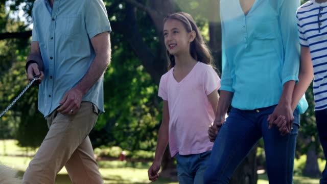 公園でその犬を連れて歩いて家族 ビデオ