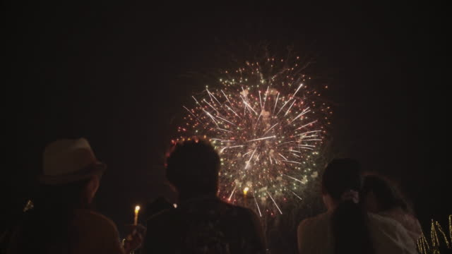 Family watching Firework Family watching Firework explosive stock videos & royalty-free footage