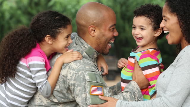family welcoming home military father/husband  military lifestyle stock videos & royalty-free footage