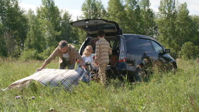 family with child preparing to have picnic outdoors - picnic video stock e b–roll