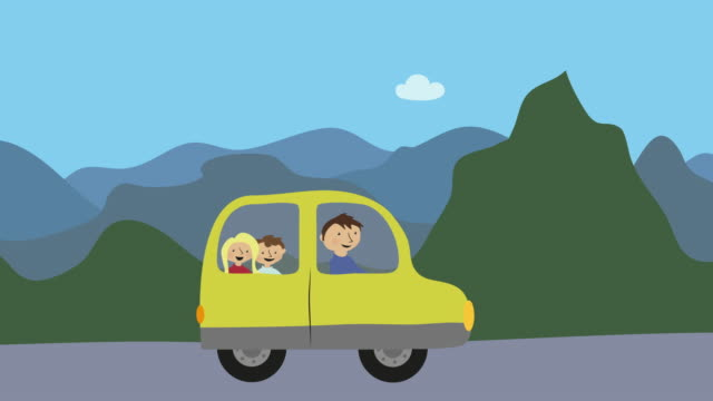 Family with dad and children driving car in nature Family with dad and children driving car in nature. Concept of summer vacation, leisure time and transport. summer illustrations videos stock videos & royalty-free footage