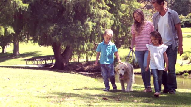 家族と犬公園の ビデオ